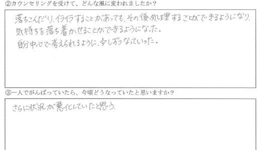 お客様の声 THさん 【30代・女性】HSP、AC、イライラ